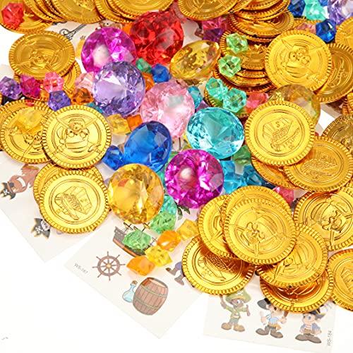 222 Piezas Monedas de Oro de Pirata Tesoro Enterrado Búsqueda de Tesoro de Pirata Rellenos de Cajas Piratas Pegatina de Tatuaje Pirata Juego de Cristal Joyería Gemas Piratas para Fiesta