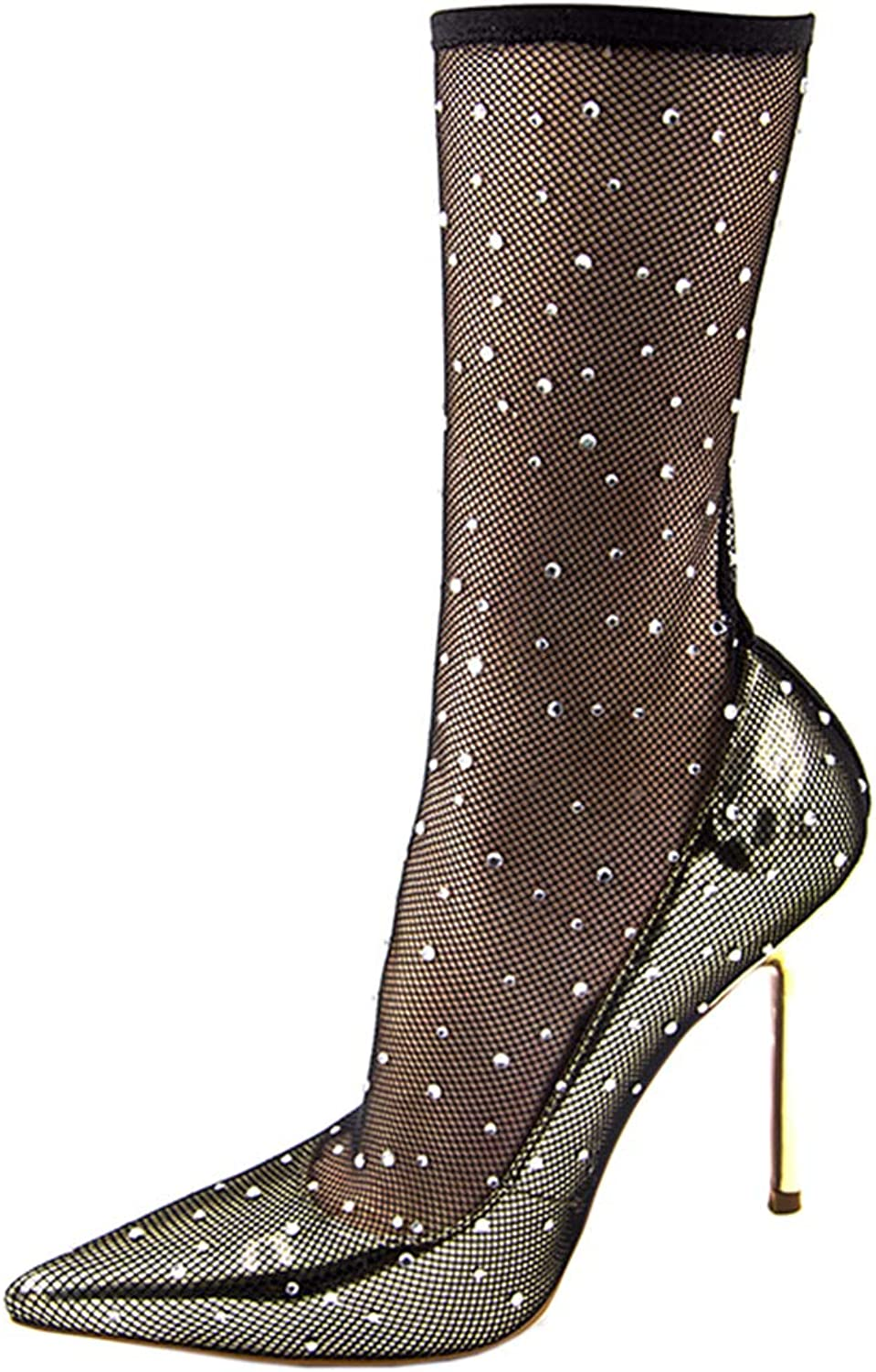 Vitalo Womens Fish Net Pointed Toe Stiletto Pumps Court shoes High Heel Ankle Boots