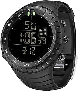 ساعات رجالي، ساعة رياضية مقاومة للماء في الهواء الطلق للرجال أنيقة LED رقمية إلكترونية سوداء