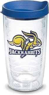 Tervis 1082374 South Dakota State Jackrabbits Logo Tumbler with Emblem and Blue Lid 16oz, Clear