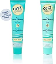 CoTZ Face Prime and Protect SPF 40 Tinted and Non-Tinted Sunscreen Bundle With Zinc Oxide and Dimethicone, For Acne-Prone, Mature, Sensitive, Normal, Dry or Oily Skin, 1.5 oz each