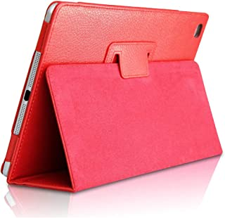 iPad Mini 1/2/3 Smart Case,FANSONG Bifold Series Litchi Stria Slim Thin Magnetic PU Leather Smart Cover [Flip Stand,Sleep Function] for Apple iPad Mini 1/2/3,Red