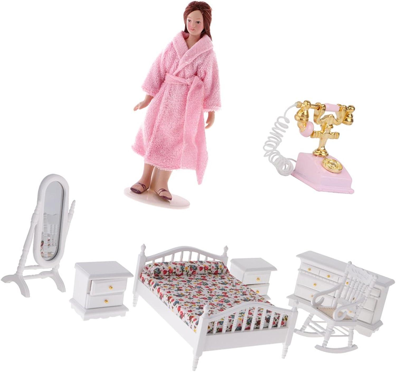 Homyl 1 12 Doll House Miniatures 6PCS Furniture Set & Doll Figurine Lady & Vintage golden Phone