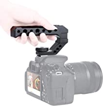 R005 Camera Top Handle Camera Top Cheese Handle Grip Universal Video Stabilizing Rig W 3 Cold Shoe Adapters to Mount Microphone, LED Light, Monitor, Easy Low Angle Shoots Metal
