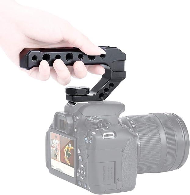 Empuñadura superior de cámara DSLR de metal para Sony Nikon Canon Pentax Adaptador de zapata fría Agarre de mano universal con 1/4 3/8 Tornillo para micrófono de monitor y extensión de luz led