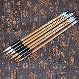 6PCS / Set Pinceles de escritura en chino tradicional Nubes blancas Pincel de escritura de pelo de lobo de bambú para la práctica de pintura de caligrafía 921