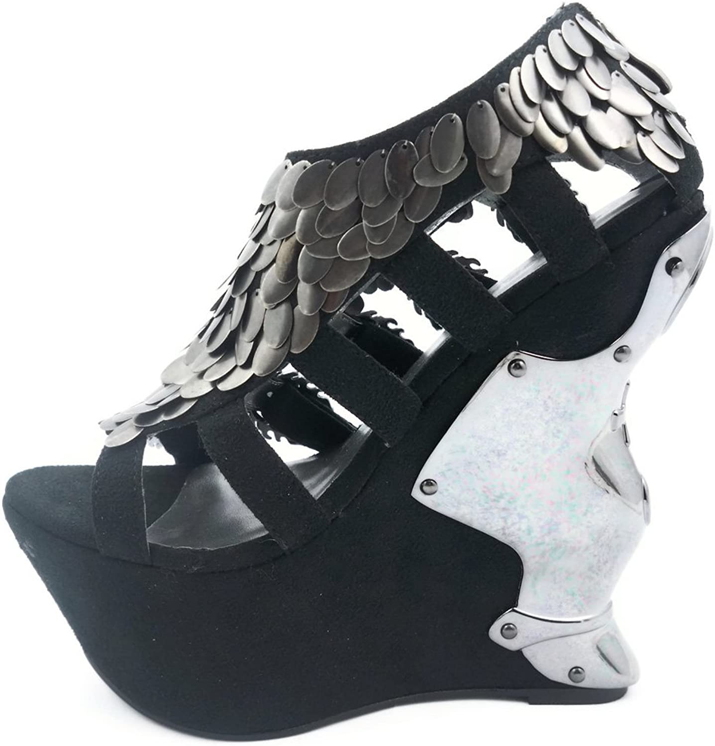 Hades shoes H-Monique 6  Sandal 2  suede platform w  Egyptian princess scales 9 Black