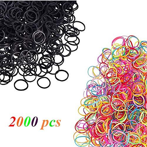 Pezzi di 2000 Mini Elastici Neri e Multi Colore di Gomma per Capelli Morbidi Elastici Intrecciare Bande per Bambini Capelli, Piccoli Dreadlock, Acconciatura da Sposa e Altro Ancora