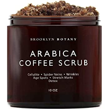 Brooklyn Botany Arabica Coffee Body Scrub & Face Scrub - 100% Natural - Coconut and Shea Butter - Best Anti Cellulite & Stretch Mark Treatment, Spider Vein Therapy for Varicose Veins & Eczema - 10 oz