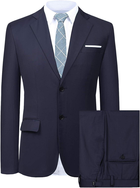 Hanayome Men's Suit 2 Pieces Slim Fit Suit Jacket Pant Coat Business Blazer Men