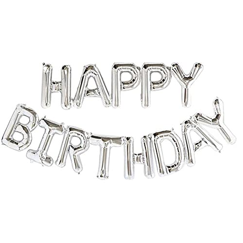 Sliver Alphabet 16 Inch Letters Foil Balloons Happy Birthday Party