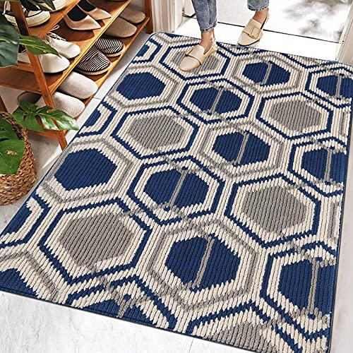 SHACOS Alfombra Entrada Interior Moderna Alfombra Puerta Entrada Casa Interior Exterior Extra Grande 80 x 120 cm Felpudo Azul Súper Absorbente Antideslizante Lavable para Puerta Interior Exterior