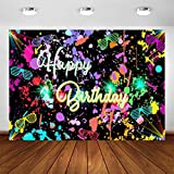 Avezano Neon Birthday Party Backdrop 7x5ft Glow in The Dark Graffiti Splatter Happy Birthday Party Banner Photography Background Let's Glow Dance Birthday Decoration Photo Booth Backdrop