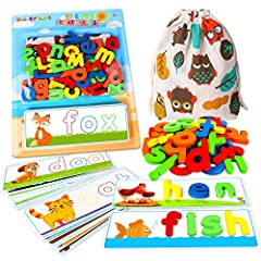 What's inside? 28pcs Double-sided Letter puzzle Flash Cards--which provides huge variety, and important Cvc words.Size 8.27*3.15'', made by heavyweight card stock with Laminating finish.52pcs sturdy Wooden Alphabet Blocks--contains 26*2 Abcs Alphabet...