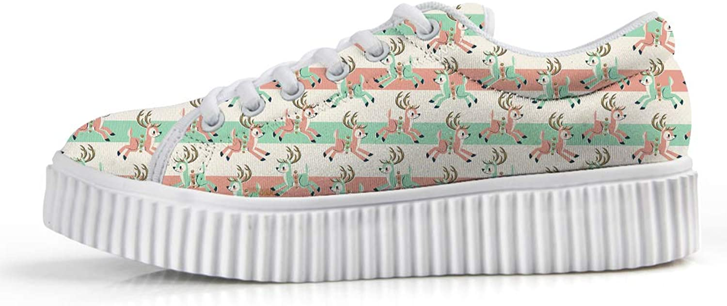 Owaheson Platform Lace up Sneaker Casual Chunky Walking shoes Low Top Women Xmas Reindeer Busy Distributing Gifts