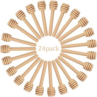 Creative Hobbies 24 Pack of Mini 3 Inch Wood Honey Dipper Sticks, Individually Wrapped, Server for Honey Jar Dispense Drizzle Honey, Wedding Party Favors