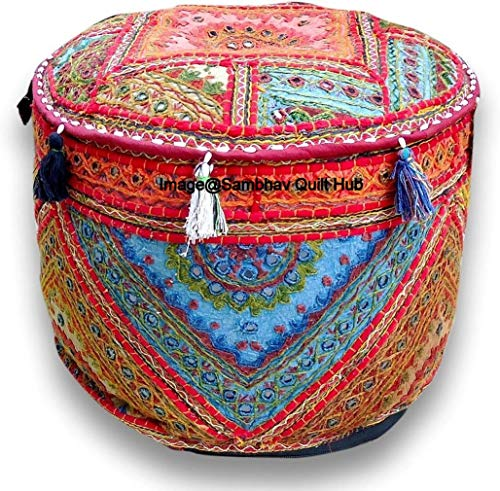 Multi Decorative Multi Patch Indian Hippie Embroidery Vintage Cotton Floor Pillow & Cushion Patchwork Bean Bag Chair Cover Boho Bohemian Hand Embroidered Handmade Pouf Ottoman Cover (14X22 inch)
