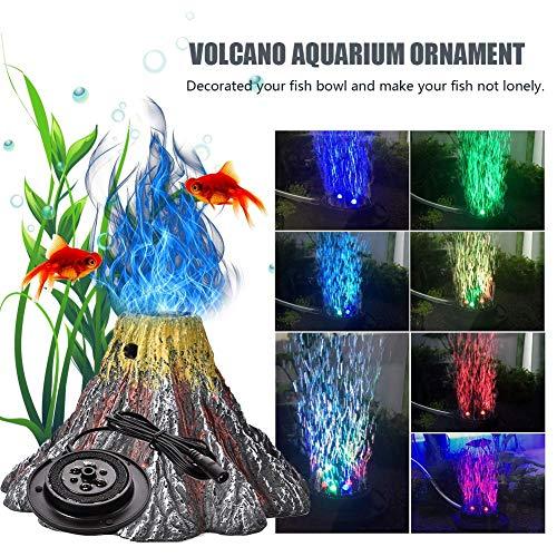 cheerfulus Aquarium Vulkan Ornament Kit, Harz Aquarium Ornament Lampe mit luftpumpe, Luft sprudler Stein, wasserdichte led Scheinwerfer Aquarium dekoratives licht