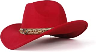 Bin Zhang 2019 Fashion Ladies Wool Felt Western Cowboy Hat Suitable For Wide-brimmed Cowgirl Braided Rope Colorful Stone Cowboy Hat (size: 58 Cm, Adjustment Rope)