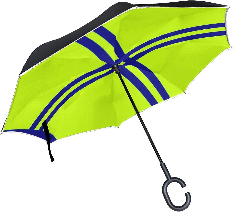 Double Layer Ingreened Stripes Angular Diagonal Lime Green Green Cobalt Umbrellas Reverse Folding Umbrella Windproof Uv Predection Big Straight Umbrella for Car Rain Outdoor with CShaped Handle