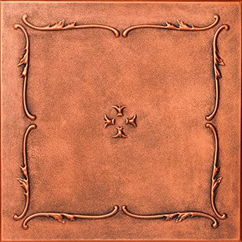 A la Maison Ceilings R05 Spring Buds Pre-Painted Foam Glue-up Ceiling Tile (256 sq. ft./Case), Pack of 96, Antique Copper