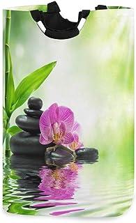 QMIN Panier à linge japonais en bambou avec orchidée zen - Panier à linge pliable - Grand sac de rangement avec poignée