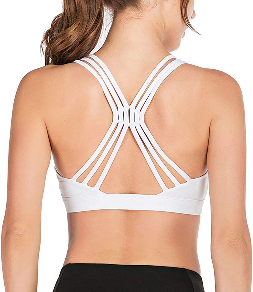 Strappy Sports Bra for Women Padded Sexy Crisscross Back Low Impact Workout Yoga Bra with Removable Cups