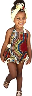 GoodLock(TM) 🏩Baby Girls Jumpsuits 🎁 Toddler Kids Bohemian Style African Print Strap Romper Casual Clothes