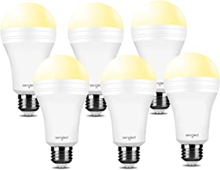 Sengled Everbright Emergency Light Bulb for Power Outage with Built-in Rechargeable Battery, Lasts 3.5 Hours Flashlight 3000K Warm White A19 40W Equivalent LED, Works Like Ordinary Bulbs, 6 Pack