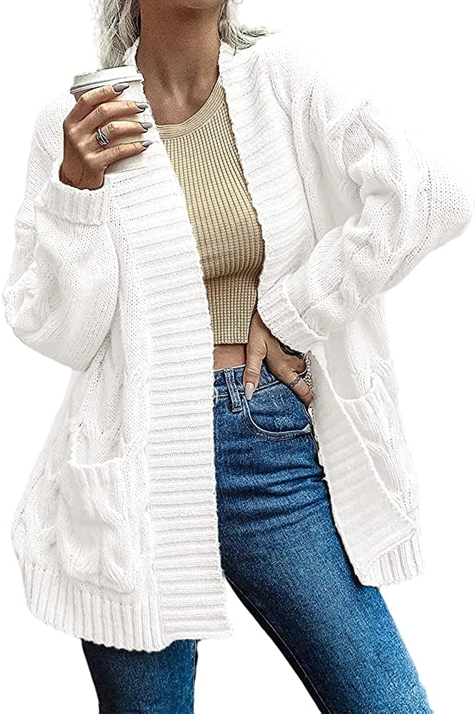 SAIKESIGIRL Women's Cable Knit Sweater Cardigan Loose Open Front Knitted Outwear with Pockets