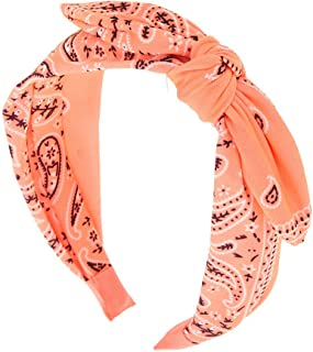 Claire's Girl's Bandana Knotted Bow Headband - Coral