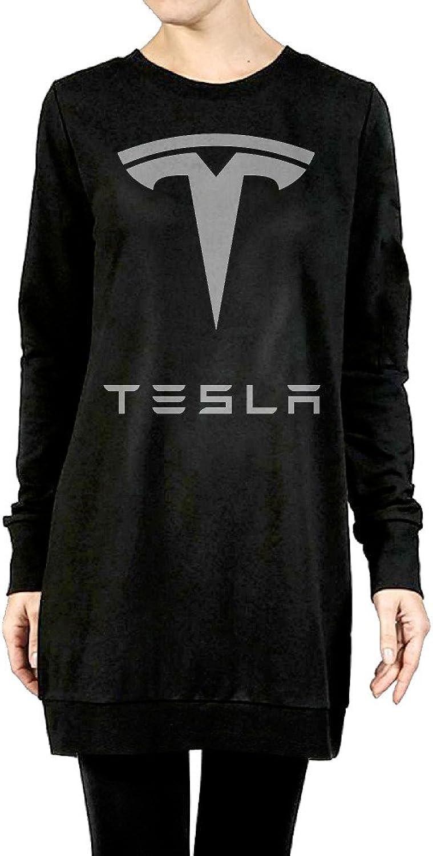 Simple Tesla Motors Logo Women's Long Fleece Hoodie Black
