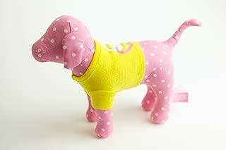 Victoria's Secret Pink Plush Dog White Dots Yellow Peace & Heart T-shirt