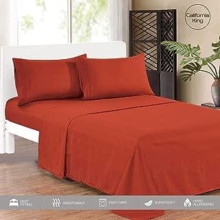Microfiber Bed Sheet Set 1800 Thread Count Wrinkle, Fade, Stain Resistant Orange Rust