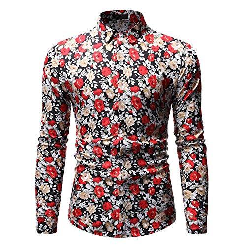 Camisas para Hombre Primavera y otoño Moda Solapa Llena de Personalidad Impresión Camisas de Manga Larga...