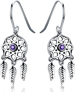 Presentski Sterling Silver Dream Catcher Dangle Earrings with CZ Christmas Day Gift for Women