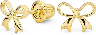 Delicato delicato piccolo compleanno regalo nastro mini orecchini a bottone a fiocco per donne adolescenti vero 14K giallo oro sicurezza screwback