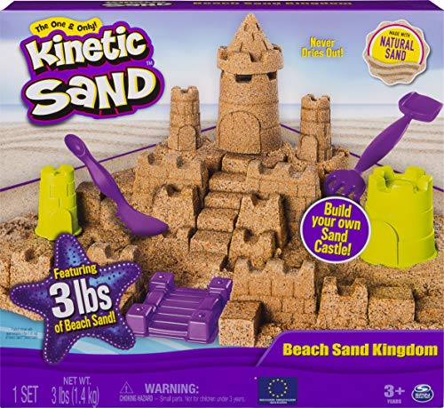 Kinetic Sand Beach Sand Kingdom Playset with 3lbs of Beach Sand, for Ages 3 and...