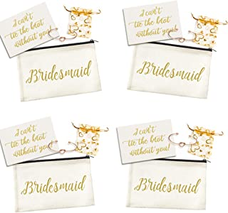 9c4a97afb Ibride Bridesmaid Gifts -Makeup Bag Proposal Card Love Knot Bracelets with  lace Bag