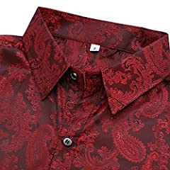 Allthemen Men's Paisley Shirt Jacquard Silk Shirts for Men Dress Shirts Long Sleeve Button Down Collar Casual Tuxedo Shirts Wine Red L #2