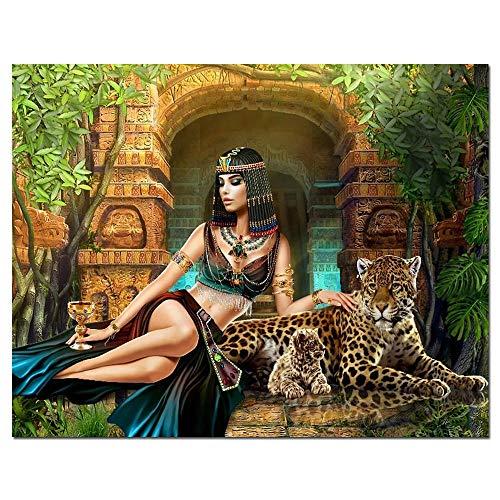 LMMLYR DIY 5D Diamante Pintura por Número Kit Belleza egipcia Cuadro de Bordado de Diamantes Rhinestone Mosaico 5D Taladro completo bordado de diamantes de imitación 16x20