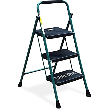 HBTower 3 Step Ladder, Folding Step Stool with Wide Anti-Slip Pedal, 500 lbs Sturdy Steel Ladder, Convenient Handgrip, Lightweight, Portable Steel Step Stool, Green and Black