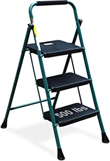 Best HBTower 3 Step Ladder, Folding Step Stool with Wide Anti-Slip Pedal, 500 lbs Sturdy Steel Ladder, Convenient Handgrip, Lightweight, Portable Steel Step Stool, Green and Black Review