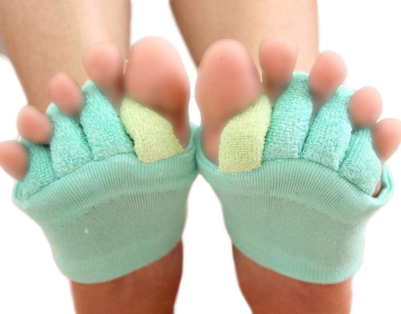 足指開き綿混5本指ハーフソックス 指の間のパイル地でやさしく足指を開きます、血行不良を即解消! 履くだけで癒される【ハーフソックス】【足指開き】 【レディース 靴下】【ソックス】【5本指】