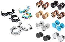 JOVIVI Bundle - 2 Items Men Women Stainless Steel Spike Hoop Punk Earrings + Wood Faux Gauge Earrings Illusion Cheater Plug Barbell Stud Earrings