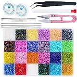 Accessori 28800 pezzi di perle di vetro colorate, 24 classificazioni di colore, con scatole di plastica separate e accessori di base, utilizzati per braccialetti, kit per la creazione di gioielli