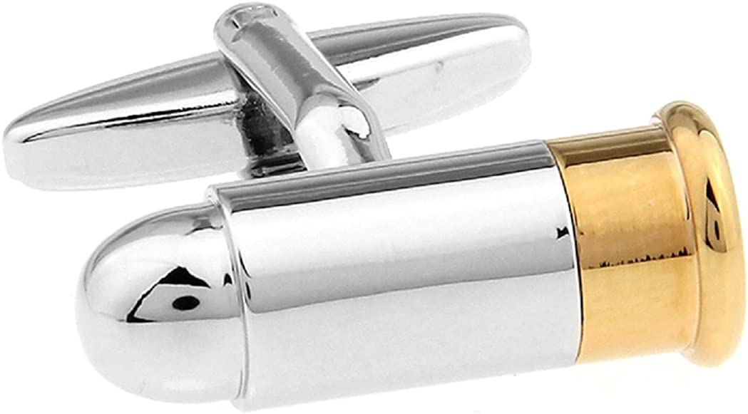 MRCUFF Bullet 2 Two Tone Shell Casing Army Police Pair Cufflinks in a Presentation Gift Box & Polishing Cloth