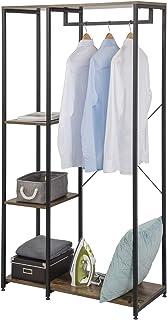 EUGAD Portemanteaux Portant avec étagère de Rangement 3 Niveaux et 1 Tringle Penderie de vêtements Solide en Bois et métal...