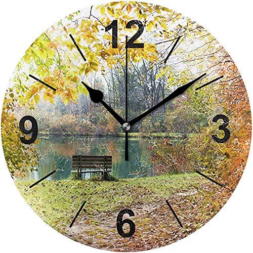L.Fenn Wandklok, rond, landschap, bos, ochtenddiameter stil, decoratief voor thuis, kantoor, keuken, slaapkamer