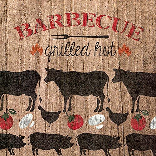 Ideal Home Range BBQ Grilled Hot, Tovaglioli da Pranzo 3 Veli, 33 x 33 cm, Confezione da 20